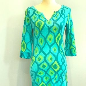 Bright aqua patterned dress